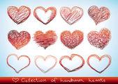 Valentine doodled hearst — Vecteur