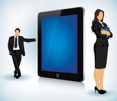 Dispositivo de tableta con negocios — Vector de stock