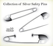 Silver Safety Pins — Stock Vector