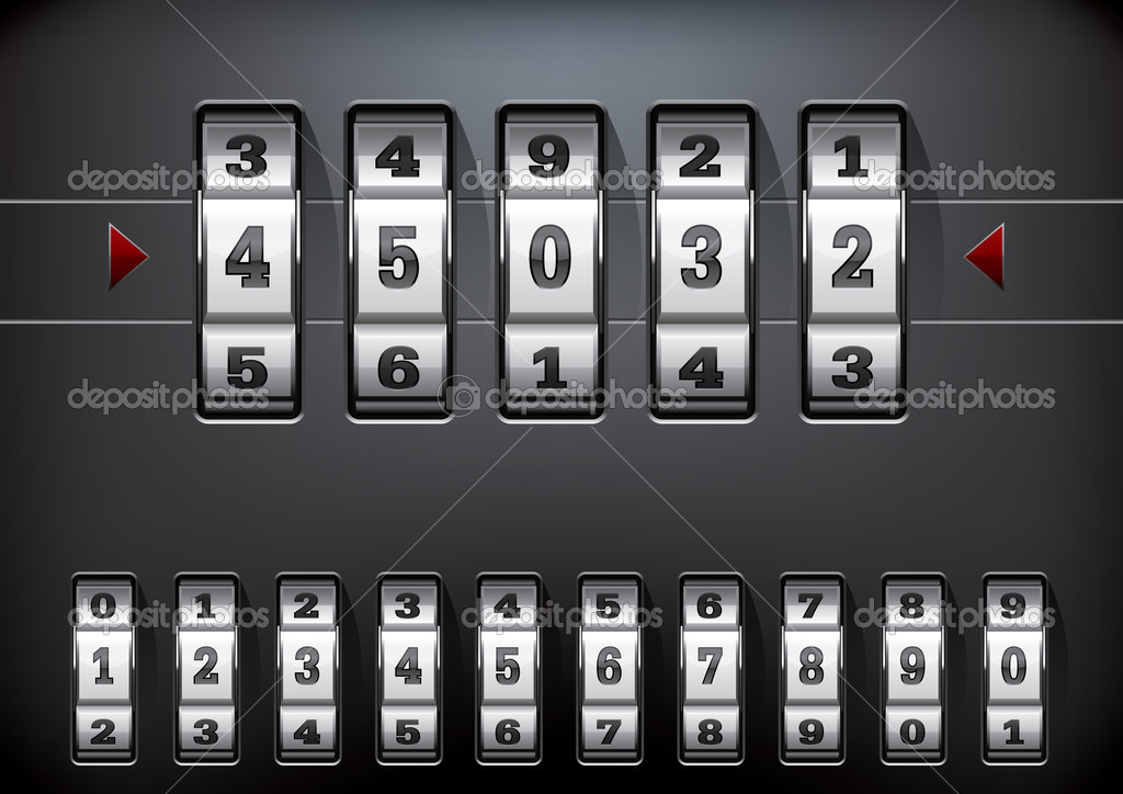 Vector illustration of a combination lock set with all ten numbers  Stock Vector #8348525