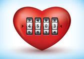 Coração com uma fechadura de combinação — Vetorial Stock