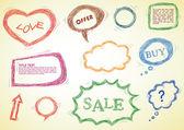 Doodled design elements — Stock Vector