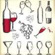 Hand-drawn wine design elements — Stock Vector