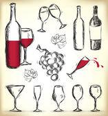 Hand-drawn wine design elements — Stock Vector