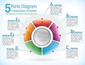 Segmented wheel template for presentations — Stock Vector