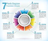 Segmented wheel presentation template — Stock Vector