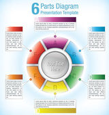 Colour coded segmented presentation wheel — Vector de stock