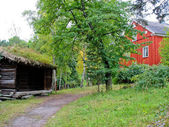 Swedish ecological cabin — Stock Photo