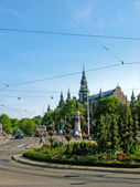Nordiska museet and trolley line in Stockholm — Stock Photo