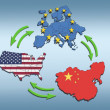 USA, Europe and China Interatction. - Stock Photo