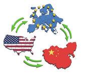USA, Europe and China Interatction. — Stock Photo