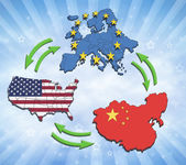 USA, Europe and China Interatction. — Stock Photo