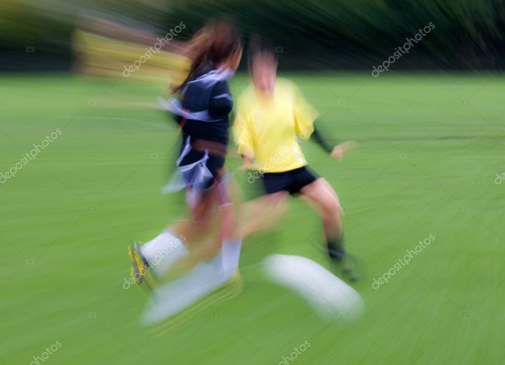 Soccer match with motion blur — Stock Photo #8537199