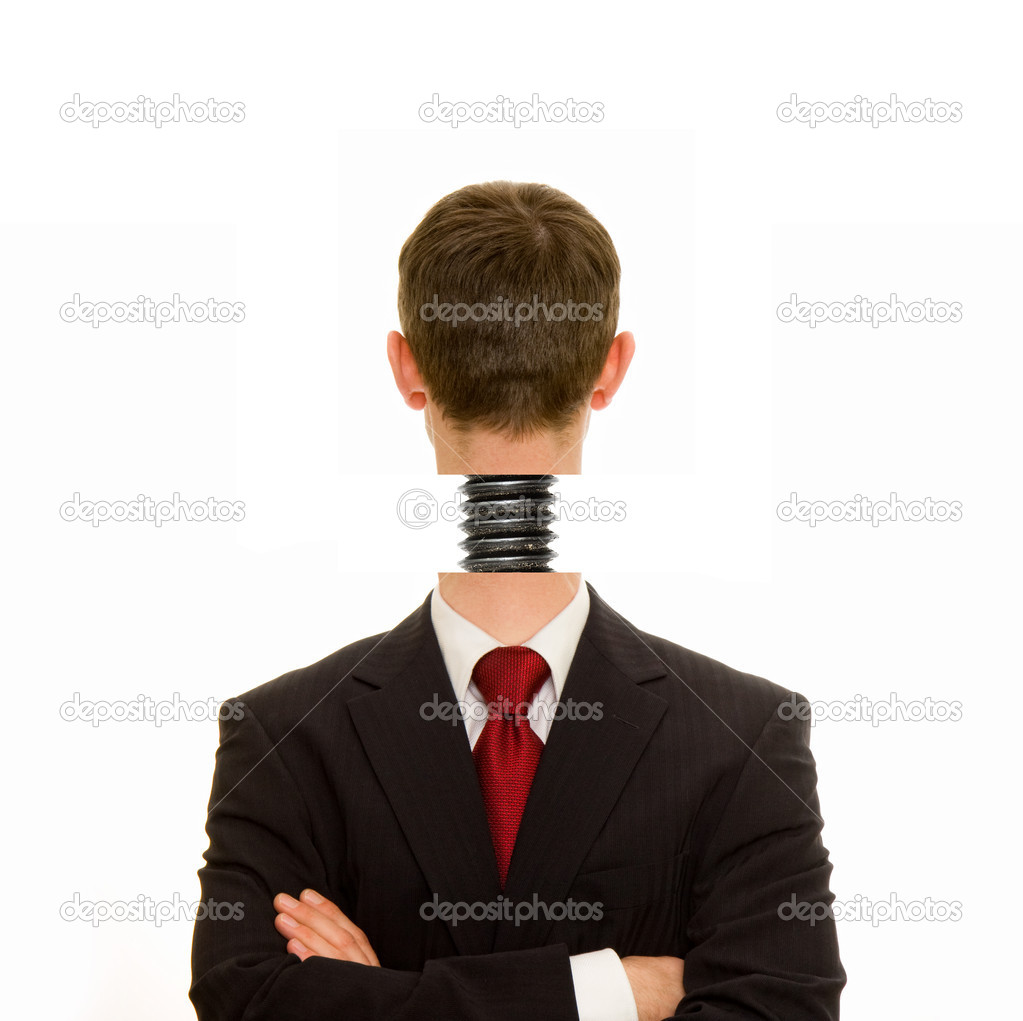 Businessman with head screwed on straight — Stock Photo #8537470