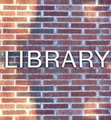 Bibliotheek gebouw ondertekenen — Stockfoto