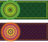 Colorful Henna Mandala Banners — Stock Vector