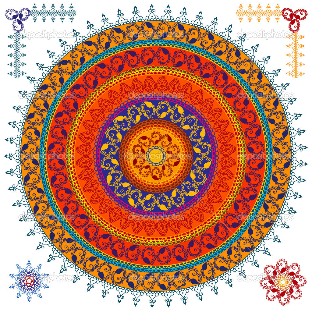 Indian art Henna inspired Mandala Design  Stock Vector #8812863