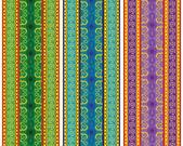 Colourful Henna Tattoo borders — Stock Vector