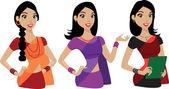 Mujer joven que presenta en india sari — Vector de stock