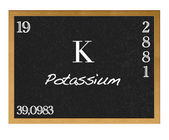 Isolated blackboard with periodic table, Potassium. — Stock Photo