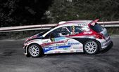 Luca Betti with the Peugeot 207 S2000. — Stock Photo