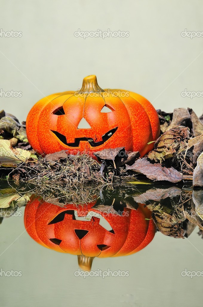 Halloween pumpkin  in the forest. — Stock Photo #9857089