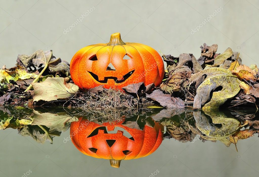 Halloween pumpkin  in the forest. — Stock Photo #9857095