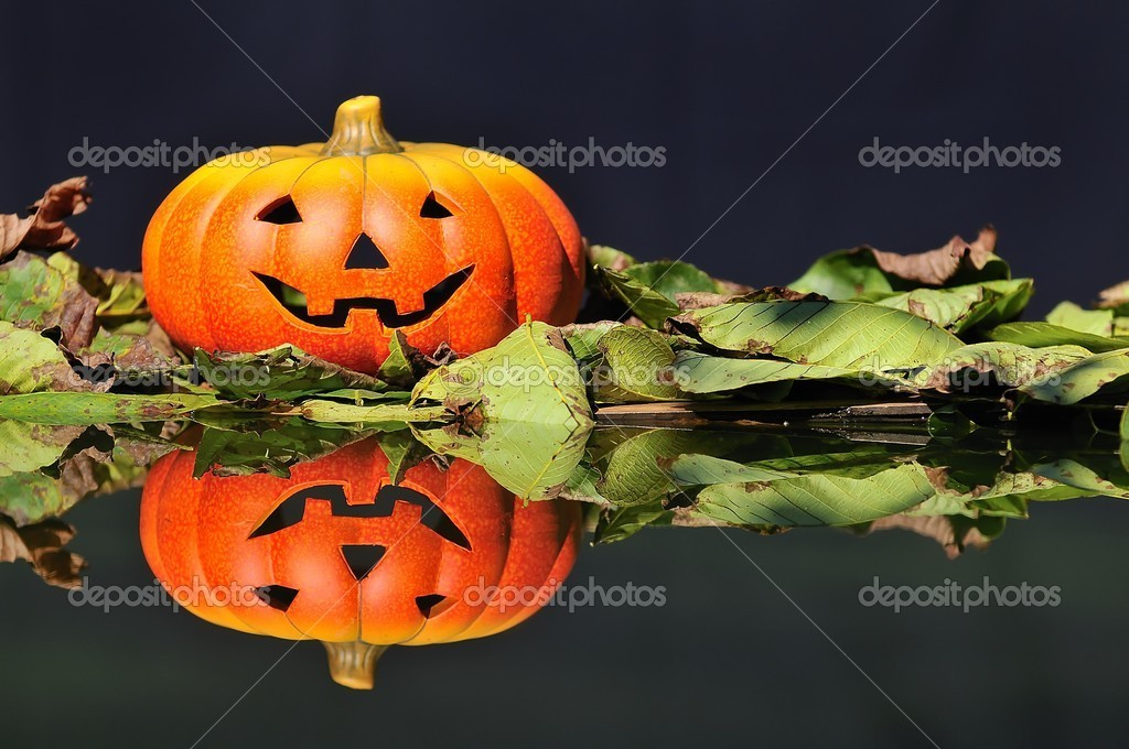 Halloween pumpkin  in the forest. — Stock Photo #9857106