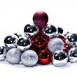 Bicolor Christmas spheres — Stock Photo