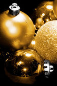 Christmas golden spheres — Stock Photo