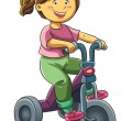 Girl Riding Tricyle — Stock Vector