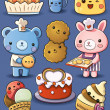 Cute Cakes and Ice Cream — Stock vektor