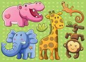 Colección animales lindos — Vector de stock