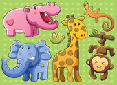 Cute Animals Collection — Vector de stock