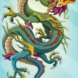 Chinese Dragon Painting — Stockvectorbeeld