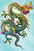 Chinese Dragon Painting — Vector de stock