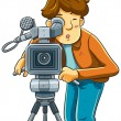 Stock Vector: CameramShoot Cinemwith Movie Camera