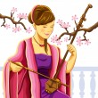 Beautiful Chinese Erhu Player — Stock Vector