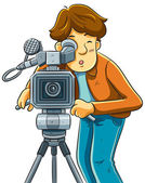 Cameraman Shoot The Cinema with Movie Camera — Stock Vector