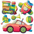 Stock Vector: Transportation Toys Collection