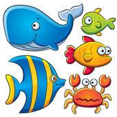 Coleção de peixes do mar — Vetor de Stock