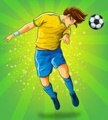 Soccer Player Head Shooting a Ball — Stock Vector