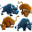 Stock Vector: Angry Bulls