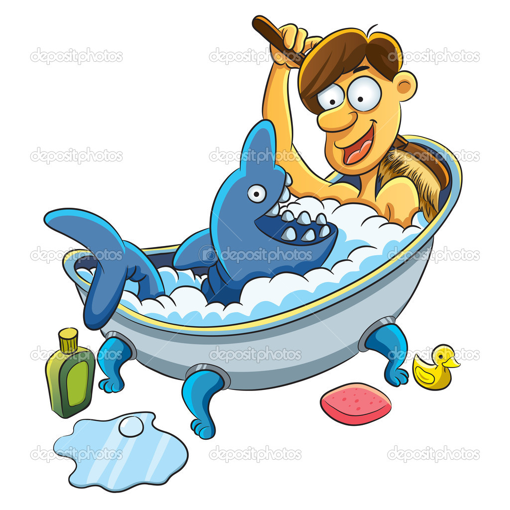 Imagen De Baño Hombre:Hombre tomando un baño — Vector de stock © h4nk #9454952