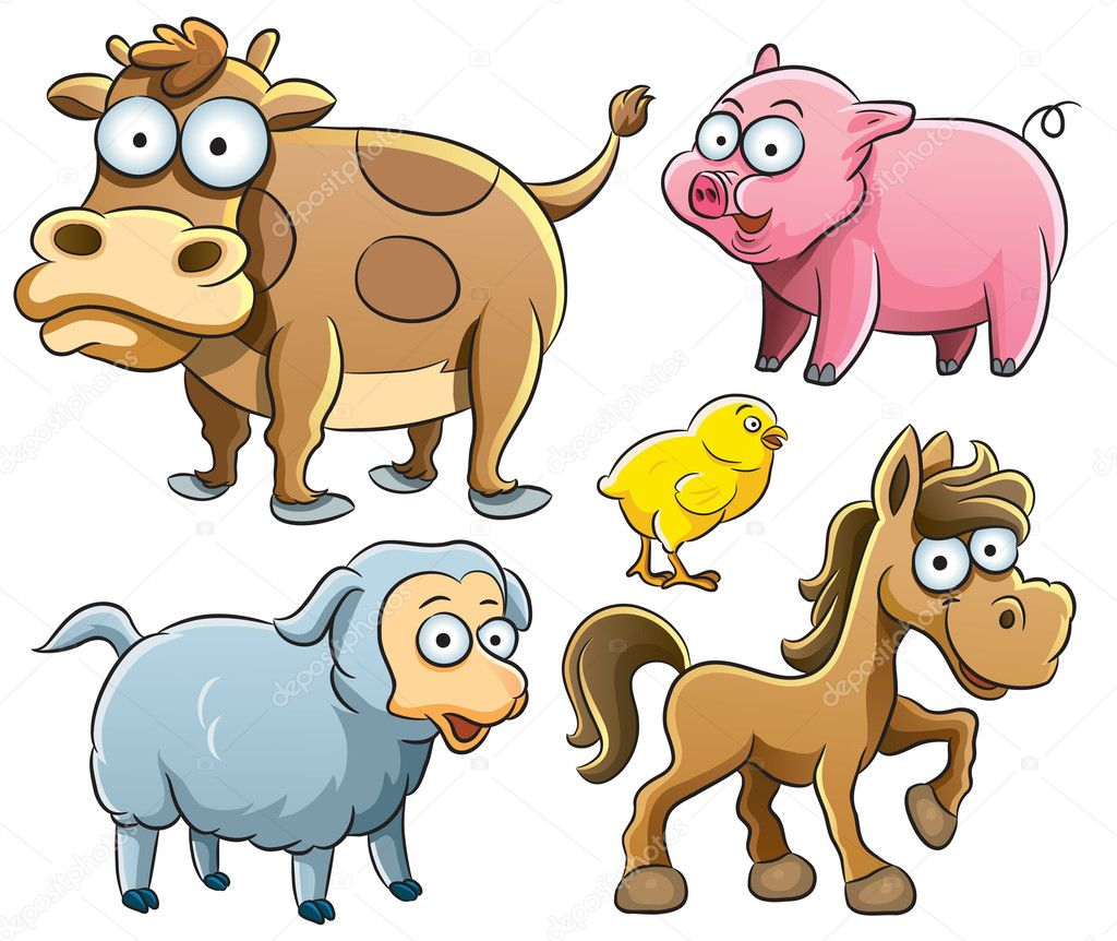 Cartoon illustration of farm baby animals — Stock Vector #9455307