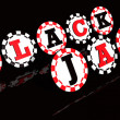 Blackjack Sign Chips - Stock fotografie