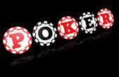Poker signe sur fond noir — Photo