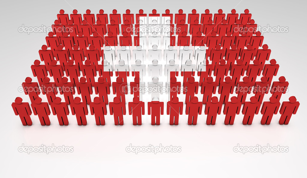 Parade of 3d forming a top view of Swiss flag. With copyspace. — Stock Photo #9398245