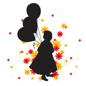 Silhouette of a Little Girl with Balloons. Vector Illustration. — Stock Vector
