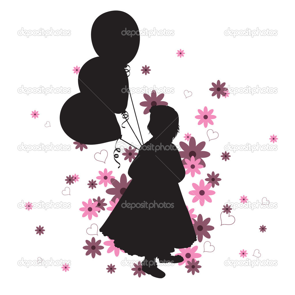 Silhouette of a Little Girl with Balloons. Vector Illustration Against White Background.